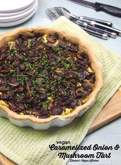 Vegan Caramelized Onion and Mushroom Tart >> Dianne's Vegan Kitchen