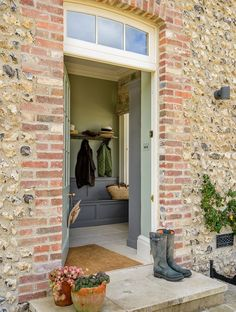 "devol-kitchens: "" A very pretty view into the South Downs Boot Room "" Halls, Devol Kitchens, Kitchen Cabinetry, Kitchen Backsplash, Vestibule, English Countryside, Countryside Homes, English Manor, English House"