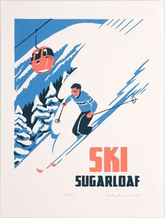 This is a signed, limited edition, hand-made screen print in the style of of a vintage-style ski poster.The first in our original SKI Prints