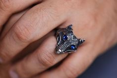 Wolf Ring-Mens Ring-Mens Gift - Viking Jewelry - Tribal Ring - Ethnic Jewelry - New Ideas Style Ancien, Wolf Face, Dragon Jewelry, Boho Rings, Jewelry Rings, Wolf Jewelry, Jewelery, Classic Engagement Rings, Viking Designs