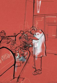 Alan-Silver & Gold polisher-Goldsmiths - Lyndon Hayes, Clerkenwell Drawings, Reportage Illustration ::http://www.dutchuncle.co.uk/lyndon-hayes-images/