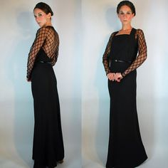 Vintage 1930s Evening Gown w/ Backless Mesh  by BluegrassVoodoo