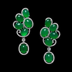 Beautiful Translucent Green Jadeite Earrings with White Diamond Halos throughout   You can see the Rest of the Outfit and my Comments on this board. - Gabrielle