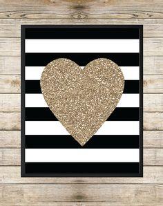 Printable Art Gold Glitter Heart Art Heart by SouthernSpruce, $5.00