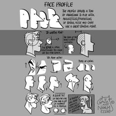 "From ""100 Tuesday Tips"". They face profile. Learn it, use it, but don't abuse it (especially in storyboard). They are very clear, but don't overdo it, because eye contact with other characters and the audience is key to getting to know a character...."