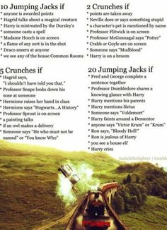 Harry Potter workout plan... like a drinking game where you sweat. I can't decide if this is a good idea or a terrible idea. XD