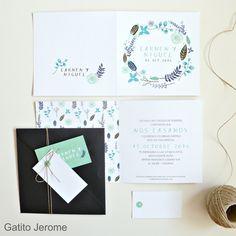 Invitación BODA Naturaleza. En tonos verdes, azules y marrones. Invitaciones delicadas. | Wedding Invitations Nature