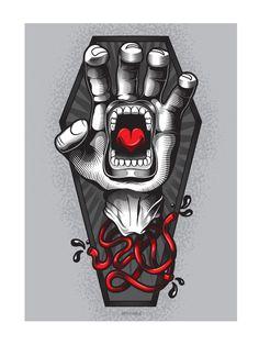Artwork for Santa Cruz Skateboards: Screaming Hand Art show, celebrating 30 years of the screaming hand graphic by Jim Phillips Santa Cruz Hand, Santa Cruz Logo, Hand Logo, Surf Art, Hand Art, Photo Wall Collage, Skateboard Art, Scream, How To Draw Hands