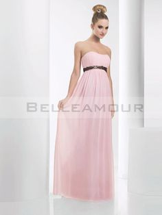 Elegant Pink Chiffon Strapless Sleeveless Pleated Floor Length Zipper Up A-line Bridesmaid Dress With Black Sash Party Cheap Formal Dresses, Simple Dresses, Strapless Dress Formal, Pink Bridesmaid Dresses Long, Homecoming Dresses Long, Black Bridesmaids, Formal Dresses Australia, Dresses Online Australia, Evening Dresses Online