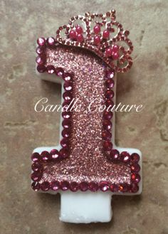 You will receive this very sparkly pink princess first birthday candle Any questions please email me