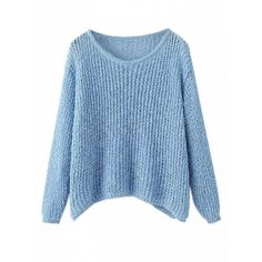 Choies Blue Long Sleeve Chunky Knit Jumper ($35) ❤ liked on Polyvore featuring tops, sweaters, blue, chunky knit sweater, thick knit sweater, blue jumper, jumpers sweaters and blue long sleeve top