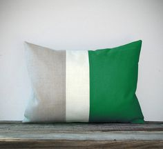 Emerald Green Colorblock Pillow with Cream and Natural Linen Stripes by JillianReneDecor Modern Home Decor Color-block Kelly Green via Etsy