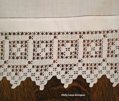 Vintage Irish Linen Tray Cloth - Wide Crochet Border from hollylaneantiques on Ruby Lane