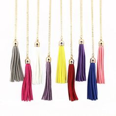 Boho Long Yellow Velvet Tassel Necklace Gold Plating Suede Tassel Pendant Necklace Fashion Women Long Necklace #Affiliate