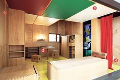 Recreation of Corbusier's Cabanon on view at MOMA/NY.  1. Material unity | 2. One Piece that does it all | 3. Ceiling play | 4. Deconstructed bathroom