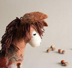 Felt Donkey  Bohdan. Handmade Felt Toy. Art Toy. by TwoSadDonkeys