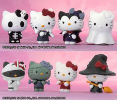 Halloween hello kitty collectibles - the ghost and skeleton are adorable Hello Kitty Halloween, Sanrio Hello Kitty, Hello Kitty Items, Hello Kitty Collection, Hello Kitty Wallpaper, Sanrio Characters, Vinyl Toys, Here Kitty Kitty, Doki
