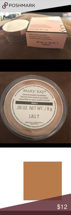 MARY KAY MINERAL POWDER FOUNDATION---BEIGE 2 (NEW) BEIGE 2 MINERAL POWDER FOUNDATION BY MARY KAY. BRAND NEW IN BOX!! Mary Kay Makeup Foundation