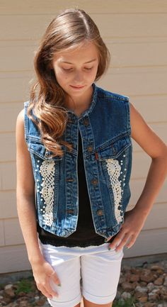 Stylish Denim Vest with Lace and Pearl Accents by ChicAndDainty