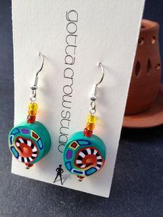 Drop Earrings Millefiori Technique Polymer Clay Funky Bright Colors ER-010. $20.00, via Etsy.