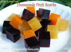 Gluten Free Dairy Free Homemade Fruit Snacks - uses gelatin and fruit juice, super quick This would be so great since we don't use food dyes.  Hunter has never really had Jell-O, except that one time we almost got kicked out of a Tractor Pull!  That's how bad it effect him!