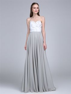 24bb14c72b6 Bridesmaid Dress- Chiffon Strapless Slate Gray Dress with Botanical  Embroidery