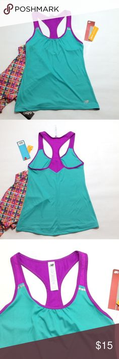 "New Balance mesh strap singlet 🎉TOP TRENDS HP🎉 These colors just pop! 🤣 Teal and fuchsia! No shelf lining. Strap is all mesh. 24"" length measured from shoulder seam, 15"" bust measured pit to pit, relaxed. New Balance Tops Tank Tops"