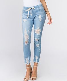 American Bazi Light Blue Distressed Drawstring Crop Jeans - Women & Plus Denim Joggers, Crop Jeans, Skinny Jeans, Athleisure Fashion, Jeans Women, Drawstring Waist, Flare Jeans, What To Wear, Light Blue