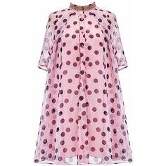 Pink Polka Dots Printing Shift Dress (7460 RSD) ❤ liked on Polyvore featuring dresses, polka dot dress, dot dresses, spotted dress, dot print dress and shift dress
