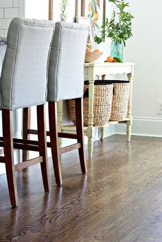 Jacobean stain on white oak hardwood flooring