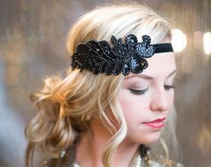 Items similar to Great Gatsby Headpiece, Flapper Headpiece for Great Gatsby Dress, Headpiece, Downton Abbey Gatsby Headband, Flapper Headband Hen Party on Etsy Great Gatsby Headpiece, Gatsby Headband, Flapper Headpiece, Flapper Costume, Tie Headband, Black Headband, Great Gatsby Hairstyles, Vintage Hairstyles, Wedding Hairstyles