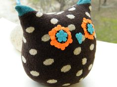 Free Shipping Unique Handmade Owl Sock Stuffed Toy by RageRabbit