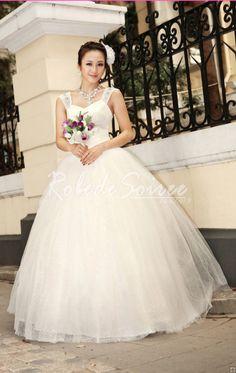 Robe de Mariée Avec Bretelles-La tresse de masse robe sans manches accès robes de mariée blanche