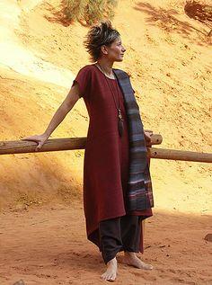 Raw silk tunic 'dark red'. sarouel made of raw silk dark purple color Hand painted raw silk scarf dark blue (n°12)