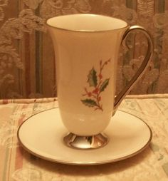 Want-Vintage Flintridge China Capachino Cup Saucer with Holly Berries   eBay