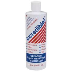 Stain remover for carpet, clothing, and upholstery. Easy-to-use; just apply, agitate, and blot.
