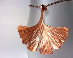 Copper ginkgo leaf necklace  hammered copper by SomewhatHip, $85.00
