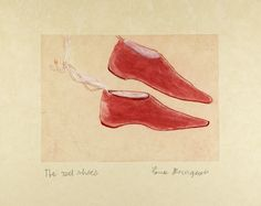 """Louise Bourgeois. The Red Shoes. 2005. Only state. Etching, with hand additions. plate: 10 7/8 x 15 1/8"""" (27.6 x 38.4 cm); sheet: 17 11/16 x 22 1/4"""" (45 x 56.5 cm). Osiris, New York. Wingate Studio, Hinsdale, NH. 9. """"study 8/9"""" lower middle sheet verso, pencil, unknown hand.. Gift of the artist. 721.2006. © 2016 The Easton Foundation/Licensed by VAGA, NY. Drawings and Prints"""