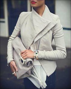Abrigo llano con cremallera irregular cuello vuelto manga larga de cuero chaqueta de punto de moda beige - Chaquetas - Tops