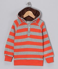 Take a look at this Orange Stripe Organic Hoodie - Toddler & Boys by Blow-Out on #zulily #fall essentials