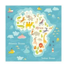 World map with time zones tips and tricks for travel pinterest art print animals world map africa beautiful cheerful colorful vector illustration for children and gumiabroncs Gallery