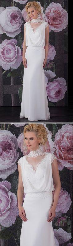 """Isabel de Mestre Brautmode 2017 - New York Kollektion 2017: Brautkleid """"Alesia"""" im Vintage-Stil, locker fallend und mit Spitze verziert."""