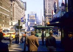 Times Square - 1950's Times Square, Street View, New York, Nyc, Vintage, New York City, Vintage Comics
