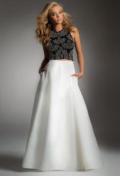 TWO-PIECE DRESS WITH BEADED TOP #twopiece #blackandwhite #homecoming #homecomingdress #camillelavie #groupusa