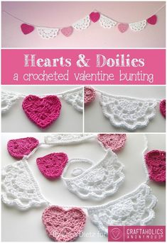 Crochet Tutorial Hearts and Doilies Crochet Valentine Bunting Tutorial Holiday Crochet, Crochet Home, Diy Crochet, Crochet Crafts, Crochet Doilies, Crochet Flowers, Crochet Projects, Crochet Owls, Crochet Tutorials