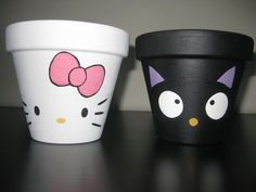 Hand painted Hello Kitty and Choco Cat terra cotta pots. I would love to put an orchid in the Hello Kitty one! Flower Pot People, Clay Pot People, Flower Pot Art, Flower Pot Crafts, Clay Pot Projects, Clay Pot Crafts, Diy Crafts, Garden Crafts, Painted Plant Pots