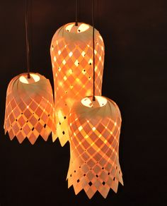 Flower wood Veneer Lampshade by Vayehi on Etsy Lighting Concepts, Lighting Design, Cool Lighting, Chandelier Lighting, Rattan Lampe, Orange Table Lamps, Luminaria Diy, Powder Room Lighting, Design Light
