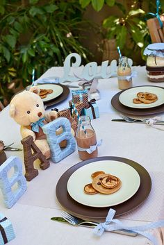 """Photo 1 of 24: Blue and brown teddy bears / Baby Shower/Sip & See """"Teddy Bear baby shower""""   Catch My Party"""