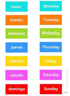 I can say the days of the week in Spanish.
