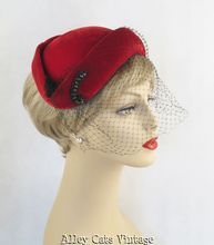 Vintage 1940s 1950s Red Velvet Cuffed Profile Hat with Beading and Netting from Alley Cats Vintage on Ruby Lane
